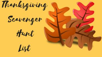 Thanksgiving Scavenger Hunt List