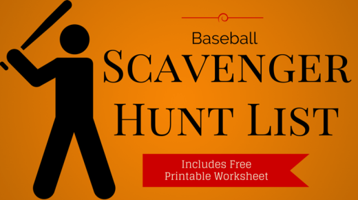 Baseball Scavenger Hunt List